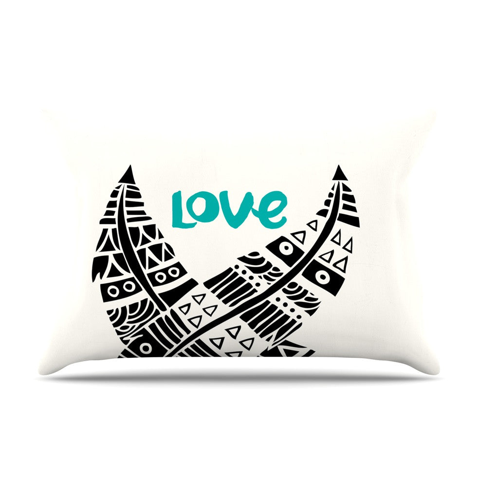 "Pom Graphic Design ""United Love"" Black Tribal Pillow Sham - KESS InHouse"