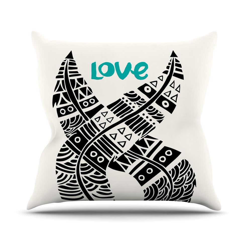 "Pom Graphic Design ""United Love"" Black Tribal Outdoor Throw Pillow - KESS InHouse  - 1"