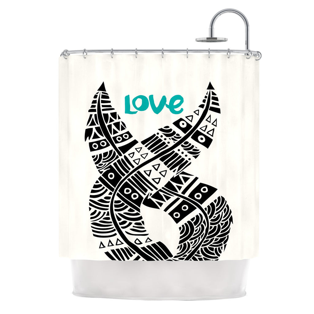 "Pom Graphic Design ""United Love"" Black Tribal Shower Curtain - KESS InHouse"