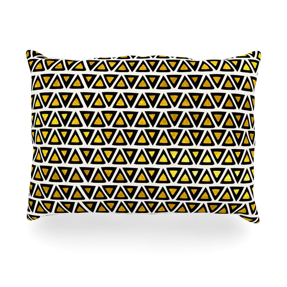 "Pom Graphic Design ""Aztec Triangles Gold"" Yellow Black Oblong Pillow - KESS InHouse"