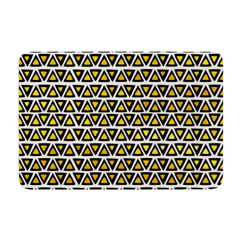 "Pom Graphic Design ""Aztec Triangles Gold"" Yellow Black Memory Foam Bath Mat - KESS InHouse"