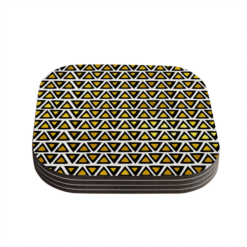 "Pom Graphic Design ""Aztec Triangles Gold"" Yellow Black Coasters (Set of 4)"