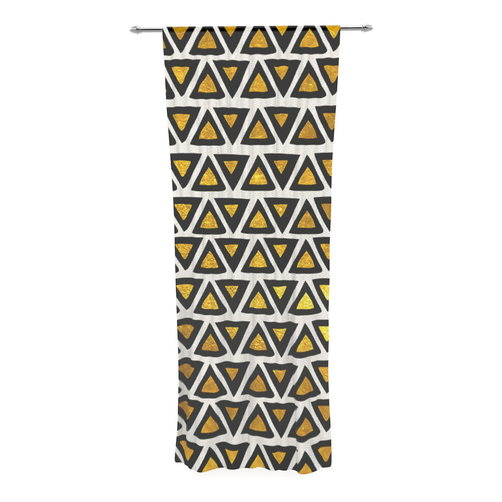 "Pom Graphic Design ""Aztec Triangles Gold"" Yellow Black Decorative Sheer Curtain - KESS InHouse  - 1"