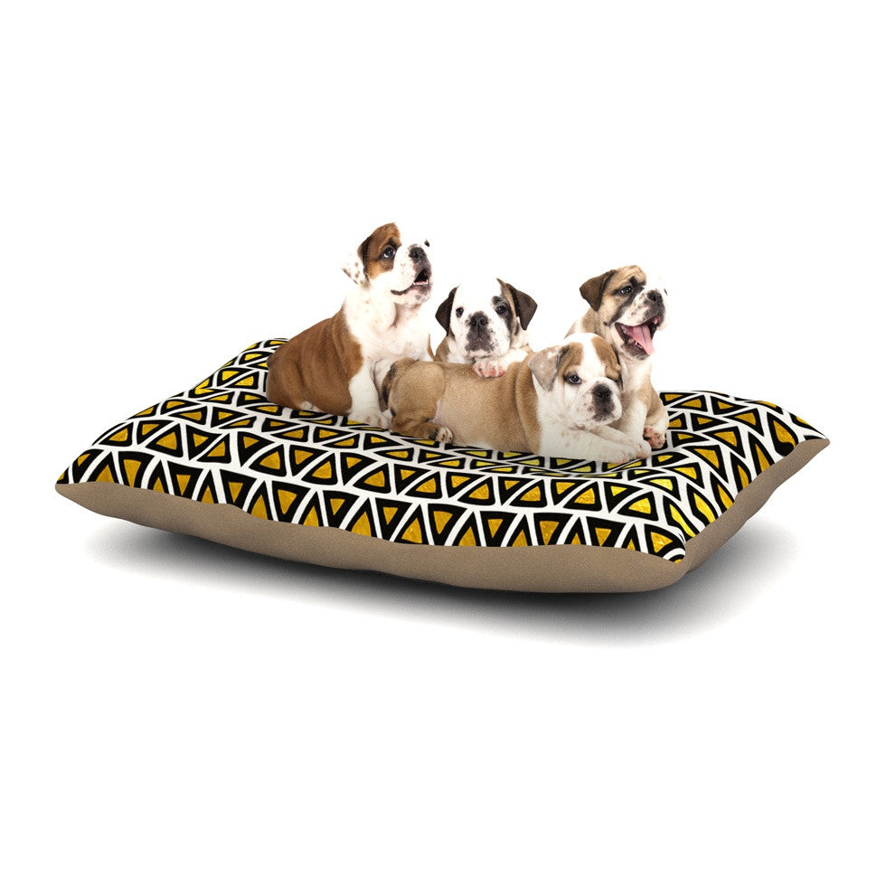"Pom Graphic Design ""Aztec Triangles Gold"" Yellow Black Dog Bed - KESS InHouse  - 1"