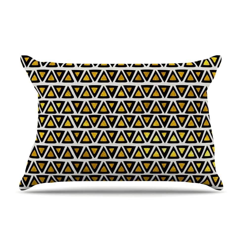 "Pom Graphic Design ""Aztec Triangles Gold"" Yellow Black Pillow Sham - KESS InHouse"