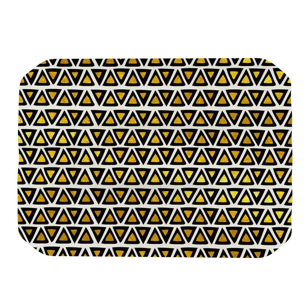"Pom Graphic Design ""Aztec Triangles Gold"" Yellow Black Place Mat - KESS InHouse"