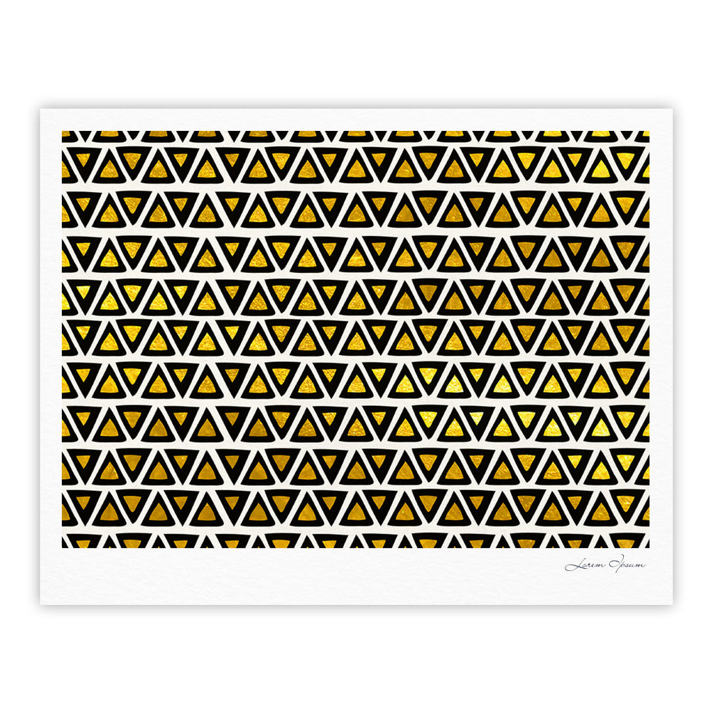 "Pom Graphic Design ""Aztec Triangles Gold"" Yellow Black Fine Art Gallery Print - KESS InHouse"