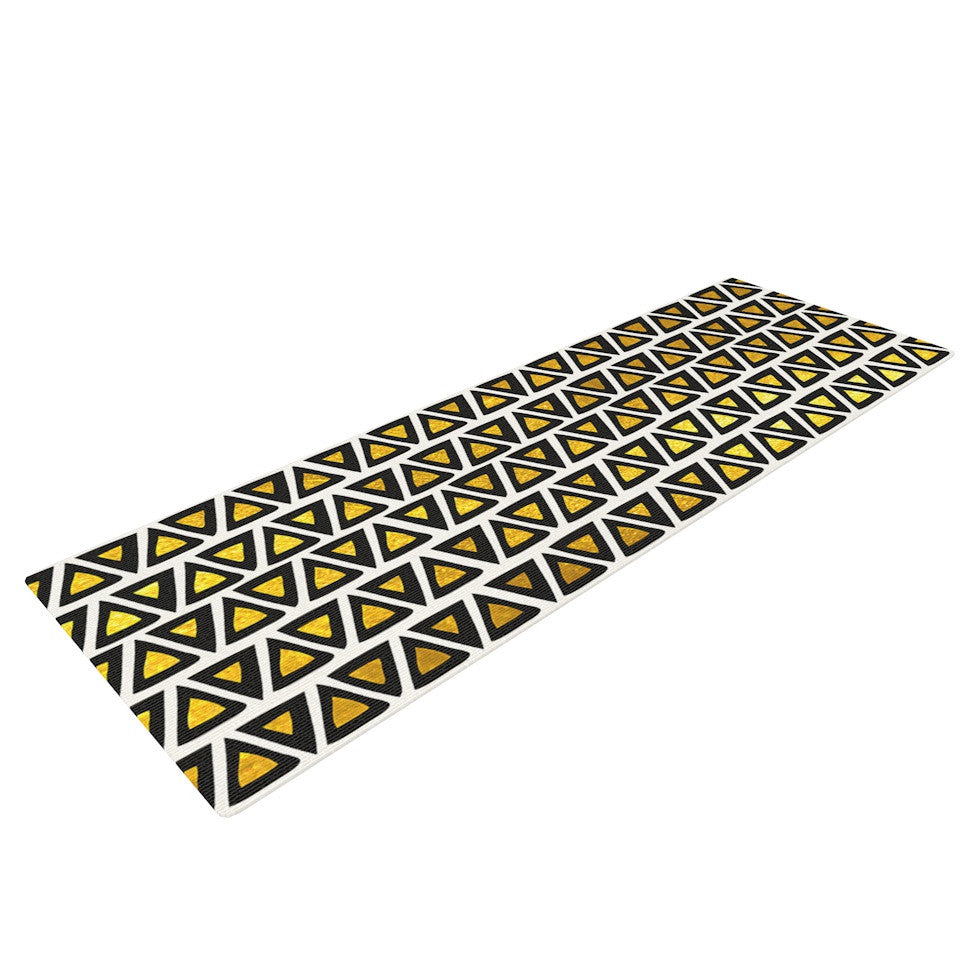 "Pom Graphic Design ""Aztec Triangles Gold"" Yellow Black Yoga Mat - KESS InHouse  - 1"