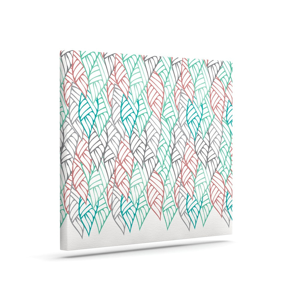 "Pom Graphic Design ""Ethnic Leaves"" Teal Red Canvas Art - KESS InHouse  - 1"