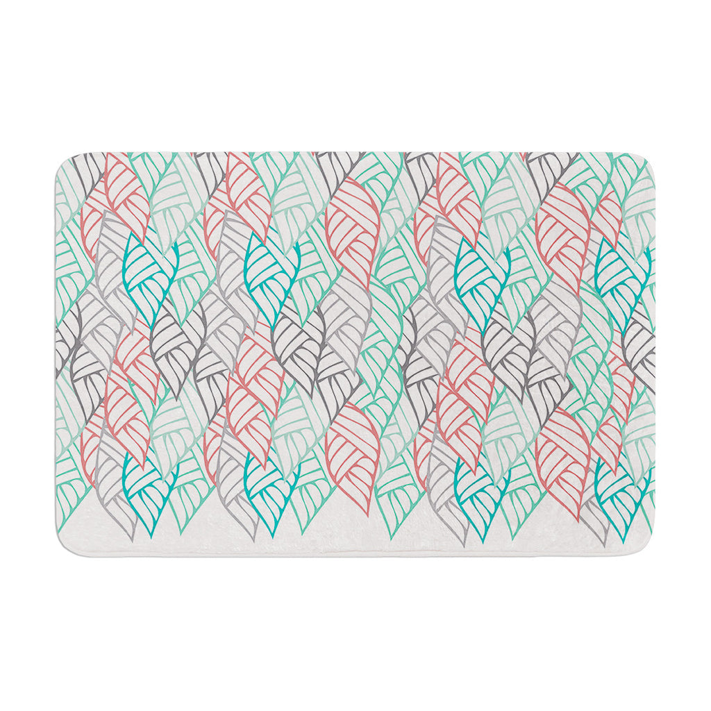 "Pom Graphic Design ""Ethnic Leaves"" Teal Red Memory Foam Bath Mat - KESS InHouse"