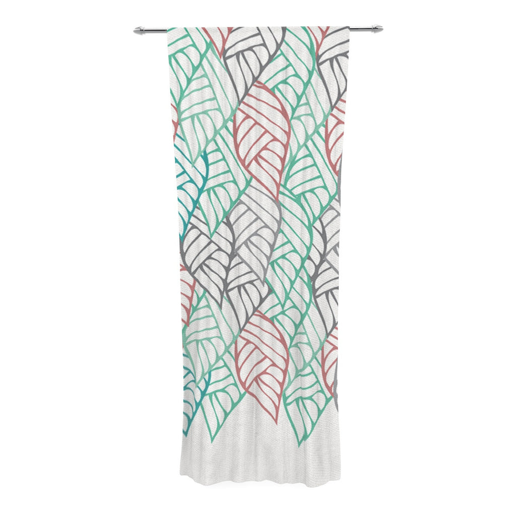 "Pom Graphic Design ""Ethnic Leaves"" Teal Red Decorative Sheer Curtain - KESS InHouse  - 1"