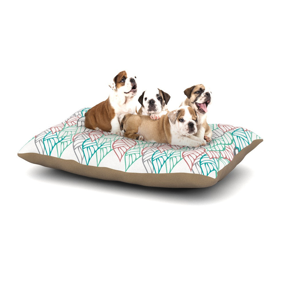 "Pom Graphic Design ""Ethnic Leaves"" Teal Red Dog Bed - KESS InHouse  - 1"