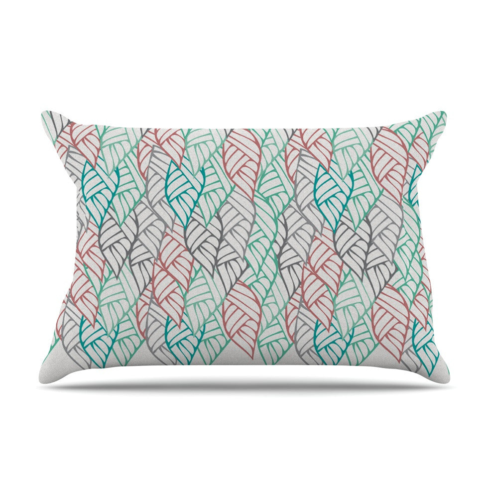 "Pom Graphic Design ""Ethnic Leaves"" Teal Red Pillow Sham - KESS InHouse"
