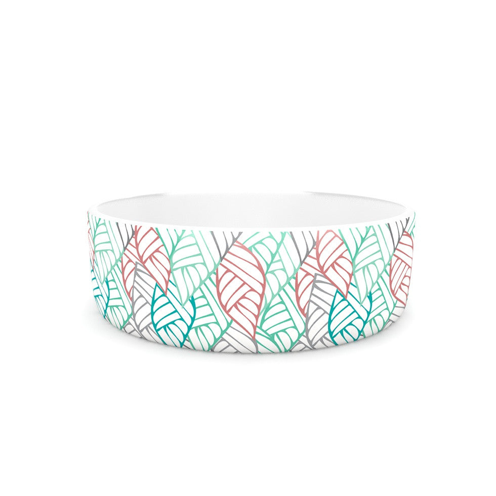 "Pom Graphic Design ""Ethnic Leaves"" Teal Red Pet Bowl - KESS InHouse"