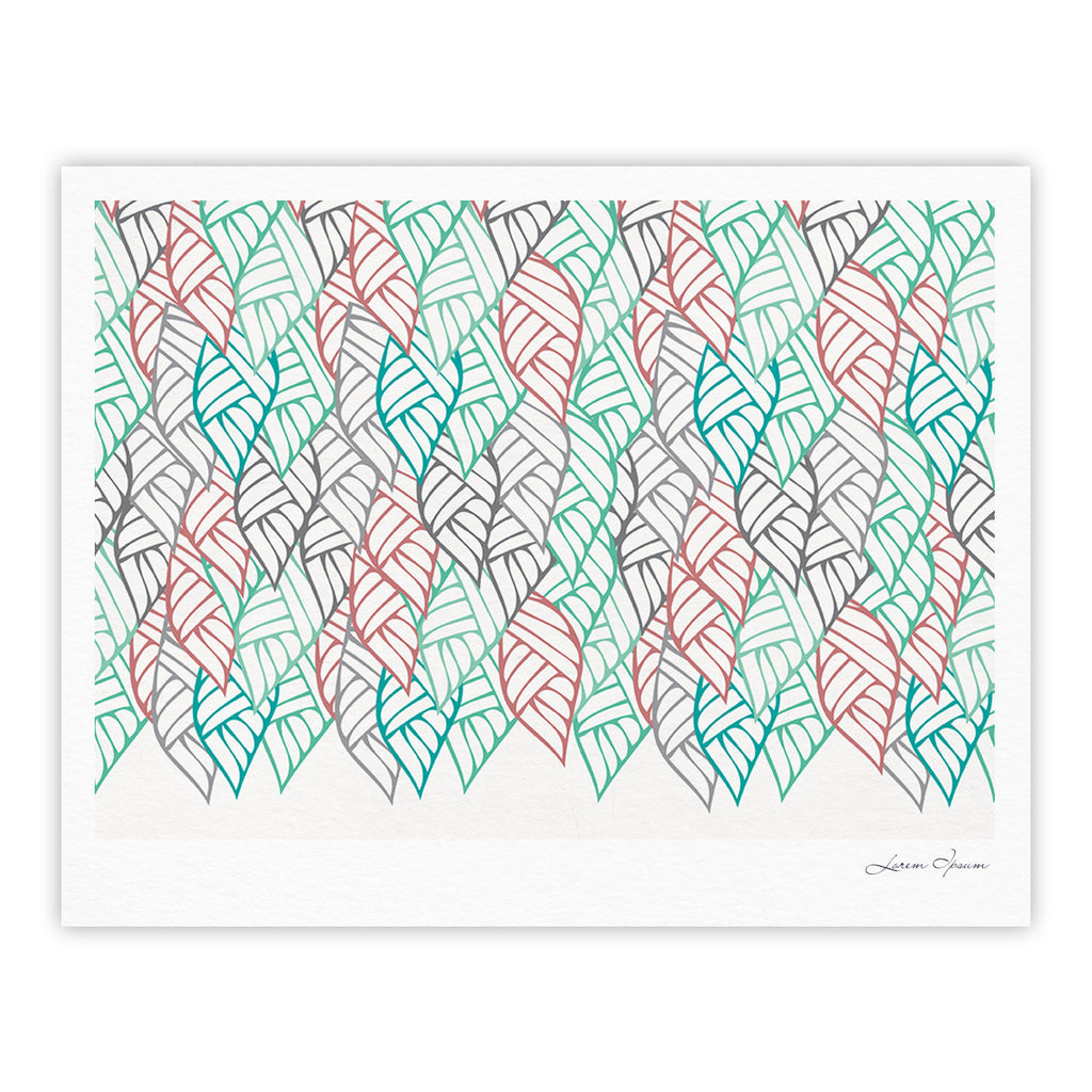 "Pom Graphic Design ""Ethnic Leaves"" Teal Red Fine Art Gallery Print - KESS InHouse"