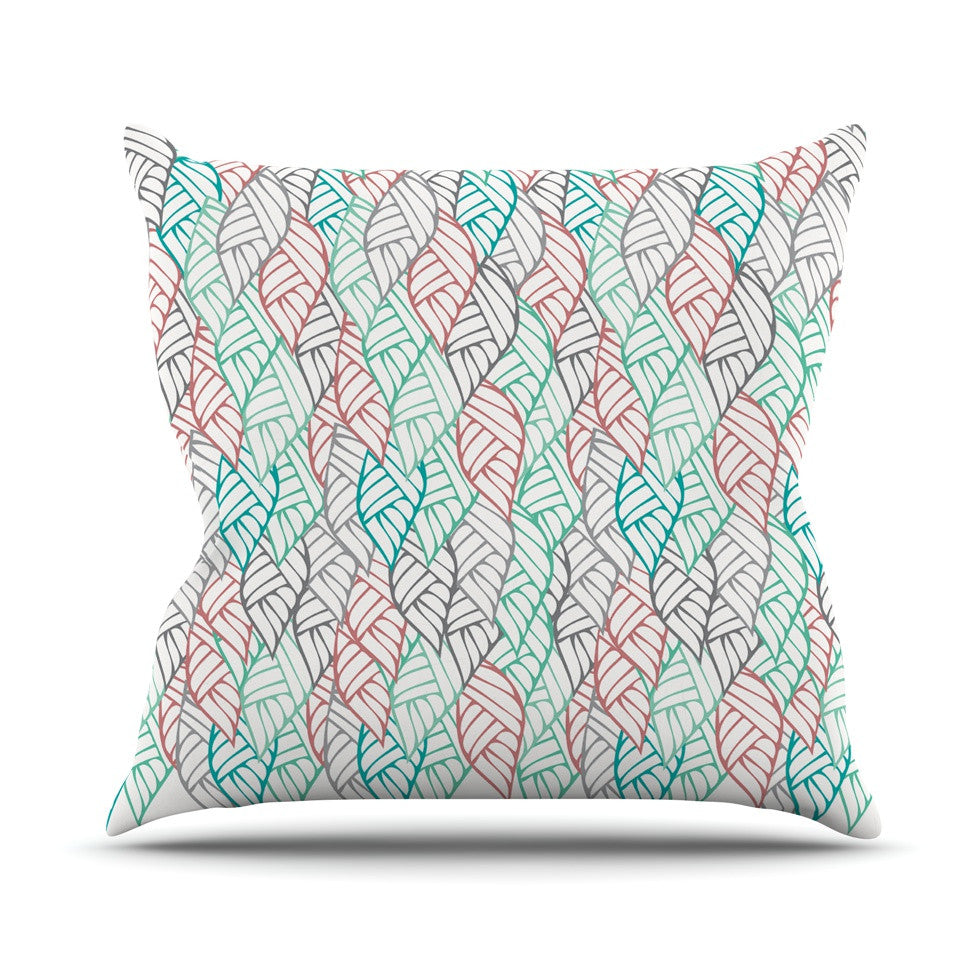 "Pom Graphic Design ""Ethnic Leaves"" Teal Red Outdoor Throw Pillow - KESS InHouse  - 1"