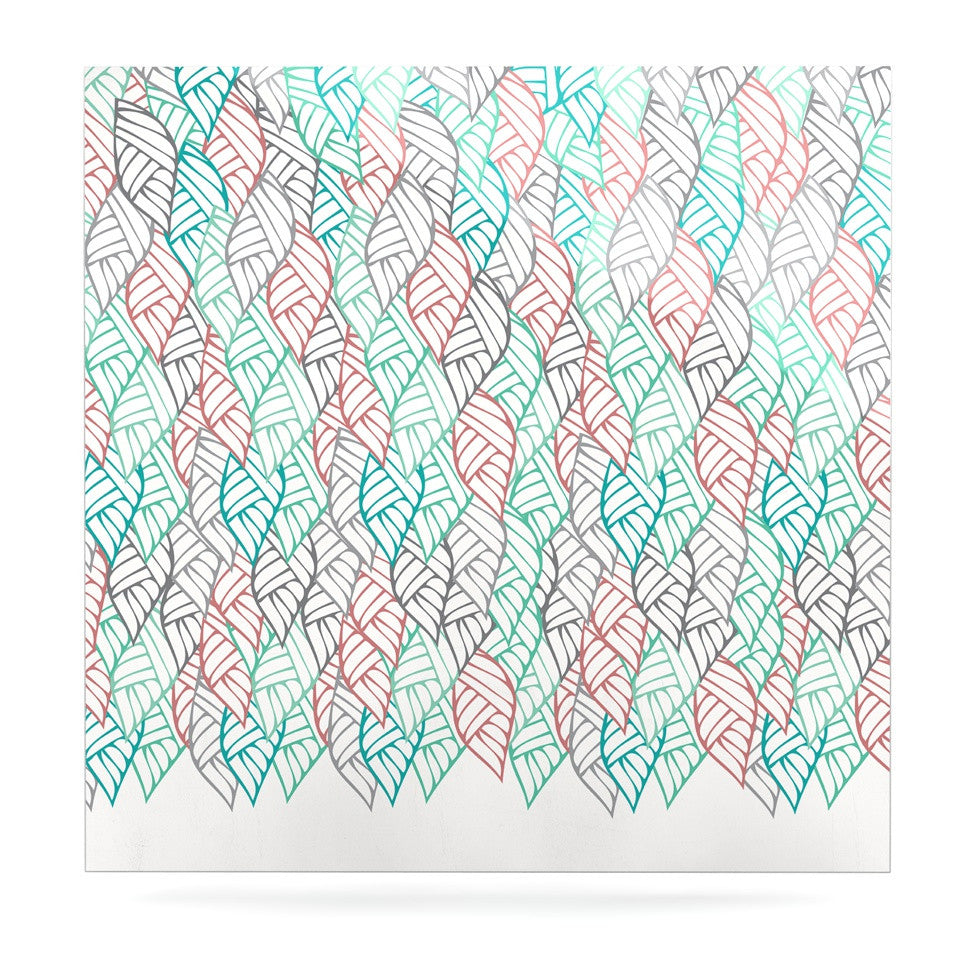 "Pom Graphic Design ""Ethnic Leaves"" Teal Red Luxe Square Panel - KESS InHouse  - 1"
