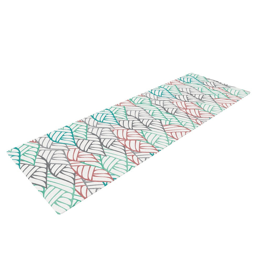 "Pom Graphic Design ""Ethnic Leaves"" Teal Red Yoga Mat - KESS InHouse  - 1"