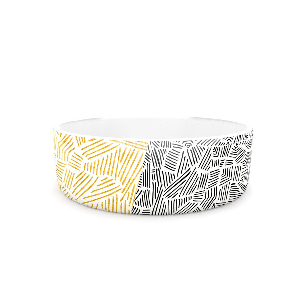 "Pom Graphic Design ""Inca Day & Night"" Gold Black Pet Bowl - KESS InHouse"
