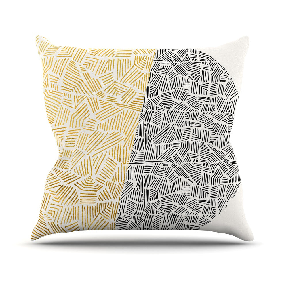 "Pom Graphic Design ""Inca Day & Night"" Gold Black Outdoor Throw Pillow - KESS InHouse  - 1"
