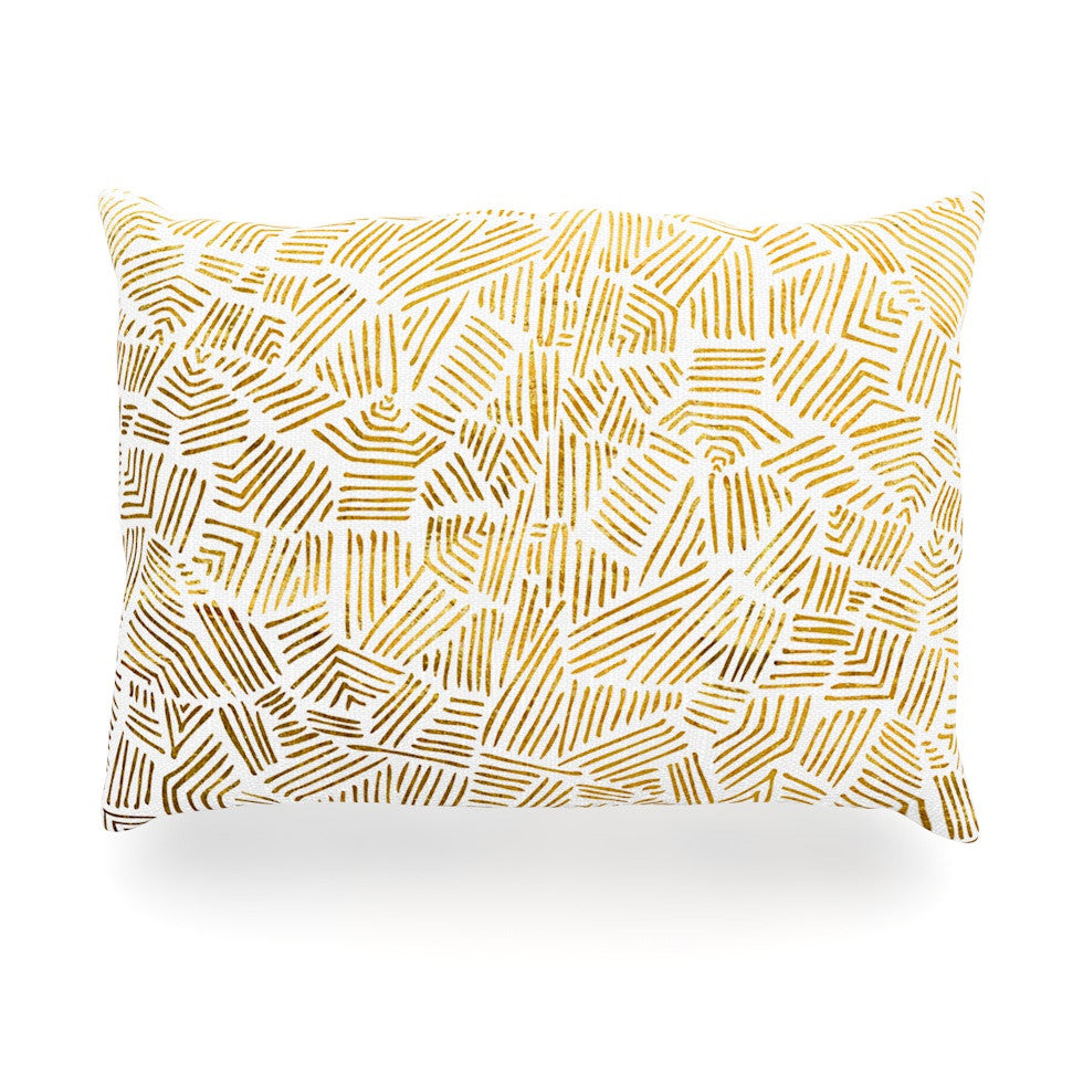 "Pom Graphic Design ""Inca Gold Trail"" Yellow Brown Oblong Pillow - KESS InHouse"