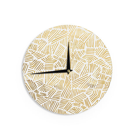 "Pom Graphic Design ""Inca Gold Trail"" Yellow Brown Wall Clock - KESS InHouse"
