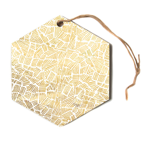 "Pom Graphic Design ""Inca Gold Trail""  Hexagon Holiday Ornament"