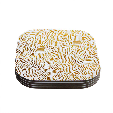 "Pom Graphic Design ""Inca Gold Trail"" Yellow Brown Coasters (Set of 4)"