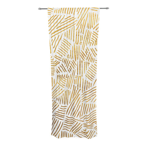 "Pom Graphic Design ""Inca Gold Trail"" Yellow Brown Decorative Sheer Curtain - KESS InHouse  - 1"