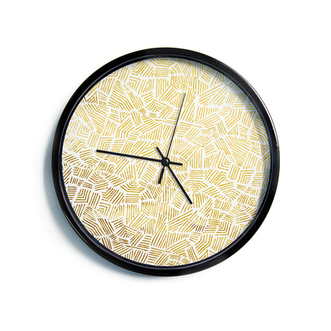 "Pom Graphic Design ""Inca Gold Trail"" Yellow Brown Modern Wall Clock"