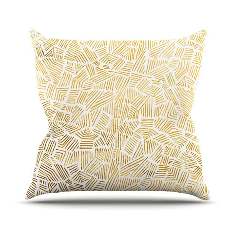 "Pom Graphic Design ""Inca Gold Trail"" Yellow Brown Outdoor Throw Pillow - KESS InHouse  - 1"