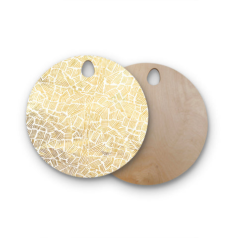 "Pom Graphic Design ""Inca Gold Trail"" Yellow Brown Round Wooden Cutting Board"