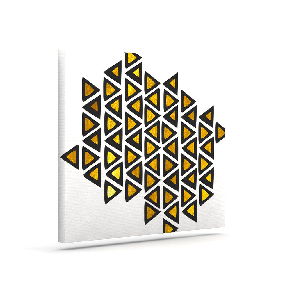 "Pom Graphic Design ""Inca Tribe"" Gold White Canvas Art - KESS InHouse  - 1"
