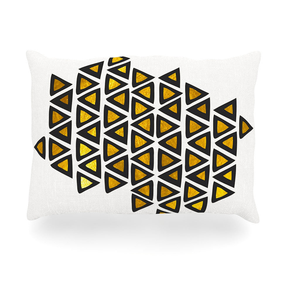 "Pom Graphic Design ""Inca Tribe"" Gold White Oblong Pillow - KESS InHouse"