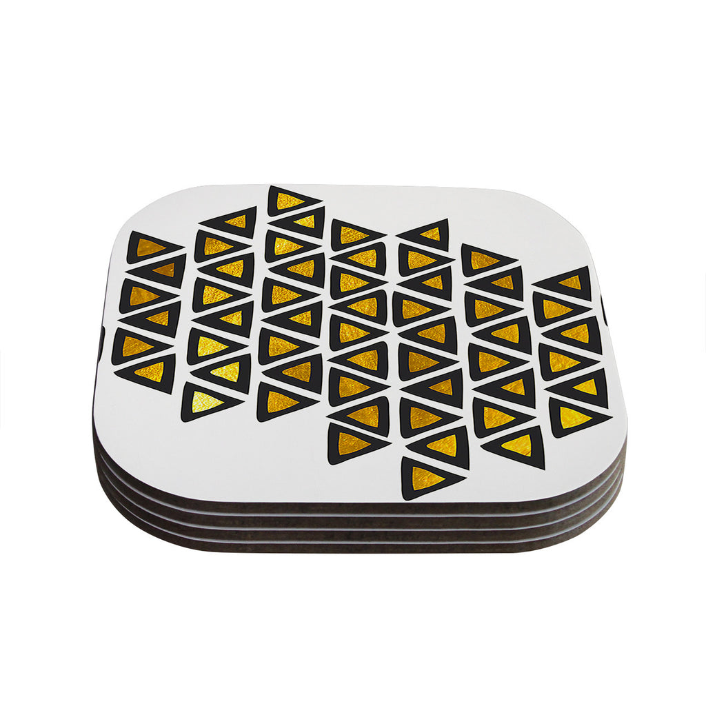 "Pom Graphic Design ""Inca Tribe"" Gold White Coasters (Set of 4)"
