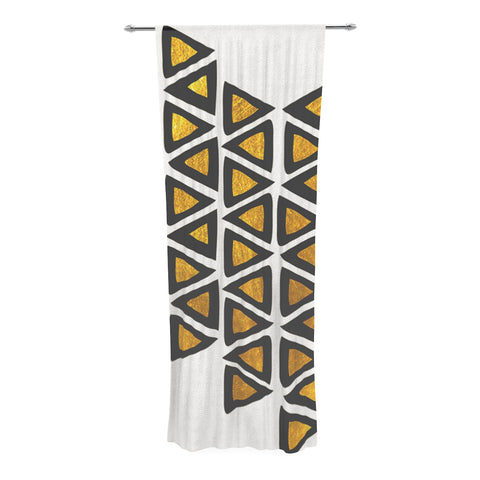 "Pom Graphic Design ""Inca Tribe"" Gold White Decorative Sheer Curtain - Outlet Item - KESS InHouse"