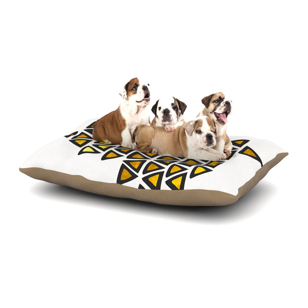 "Pom Graphic Design ""Inca Tribe"" Gold White Dog Bed - KESS InHouse  - 1"