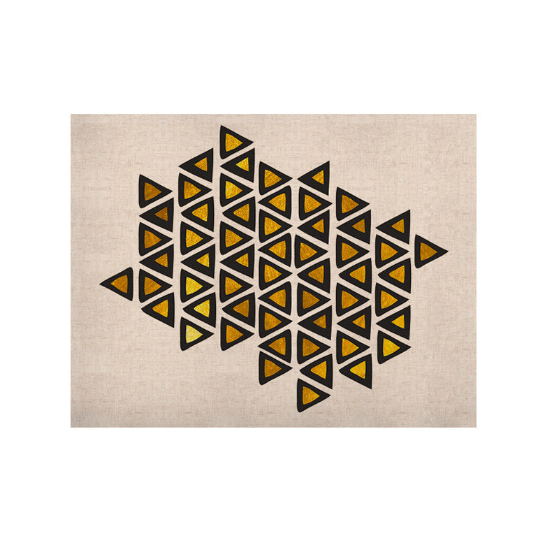 "Pom Graphic Design ""Inca Tribe"" Gold White KESS Naturals Canvas (Frame not Included) - KESS InHouse  - 1"