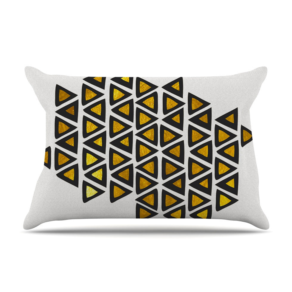 "Pom Graphic Design ""Inca Tribe"" Gold White Pillow Sham - KESS InHouse"