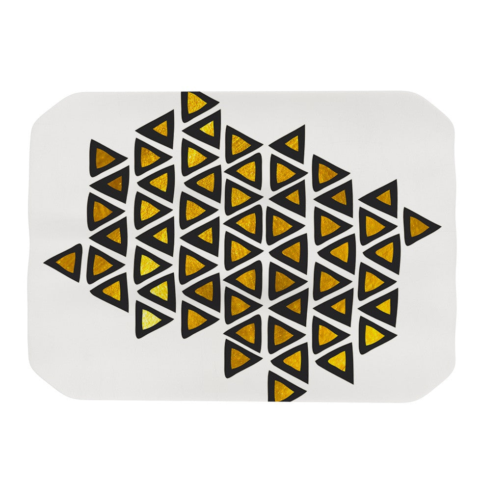 "Pom Graphic Design ""Inca Tribe"" Gold White Place Mat - KESS InHouse"