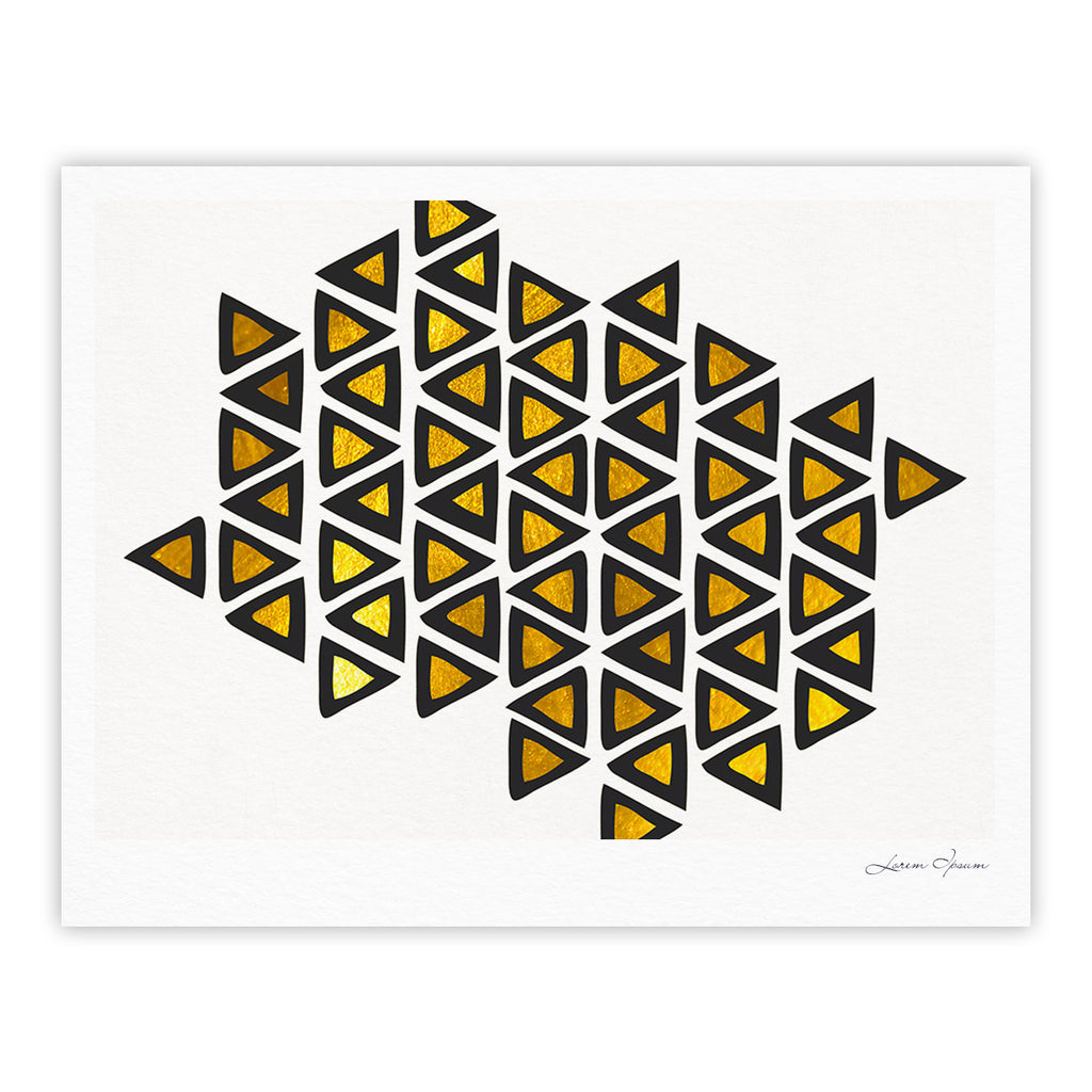 "Pom Graphic Design ""Inca Tribe"" Gold White Fine Art Gallery Print - KESS InHouse"