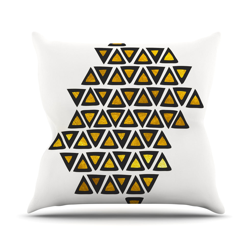 "Pom Graphic Design ""Inca Tribe"" Gold White Outdoor Throw Pillow - KESS InHouse  - 1"