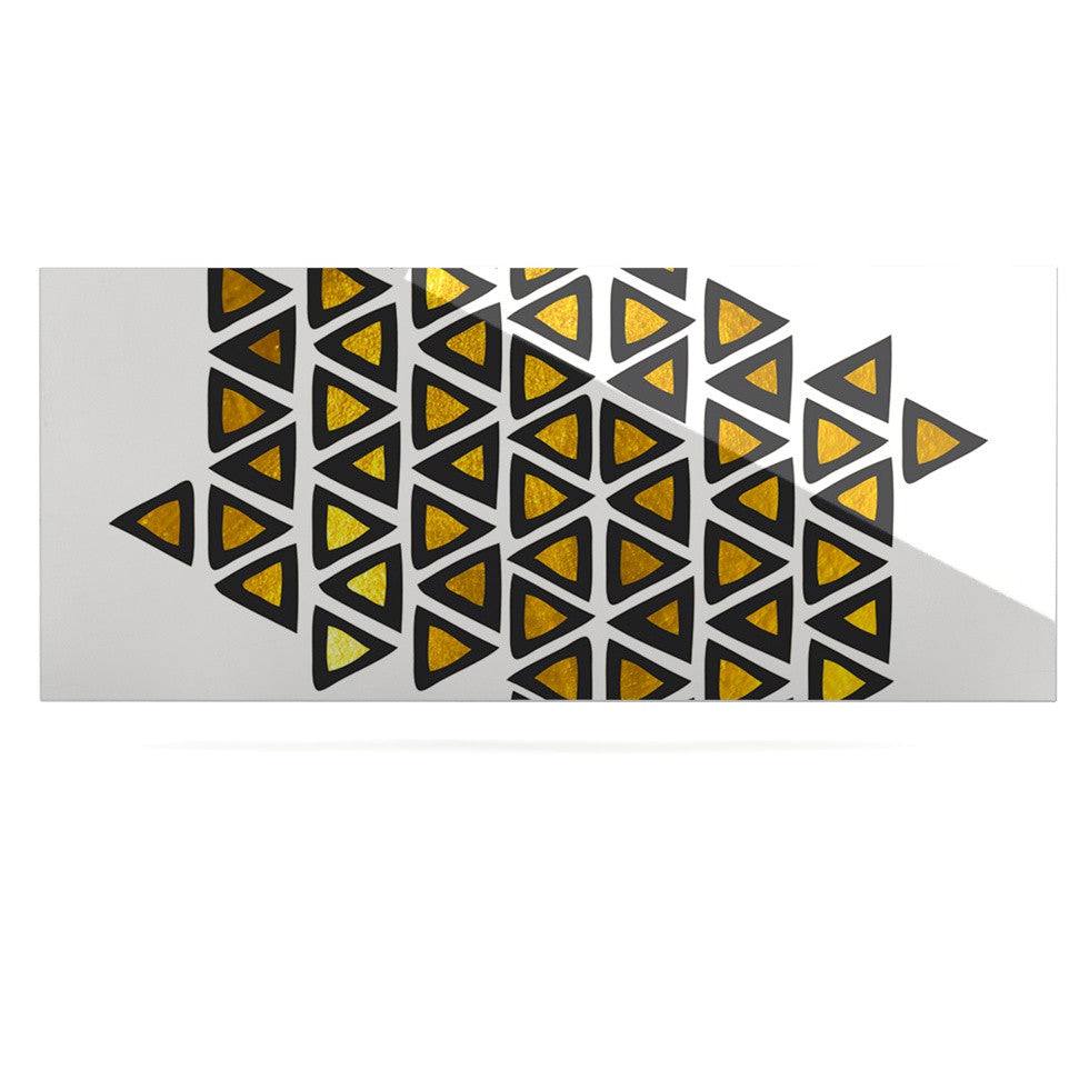 "Pom Graphic Design ""Inca Tribe"" Gold White Luxe Rectangle Panel - KESS InHouse  - 1"
