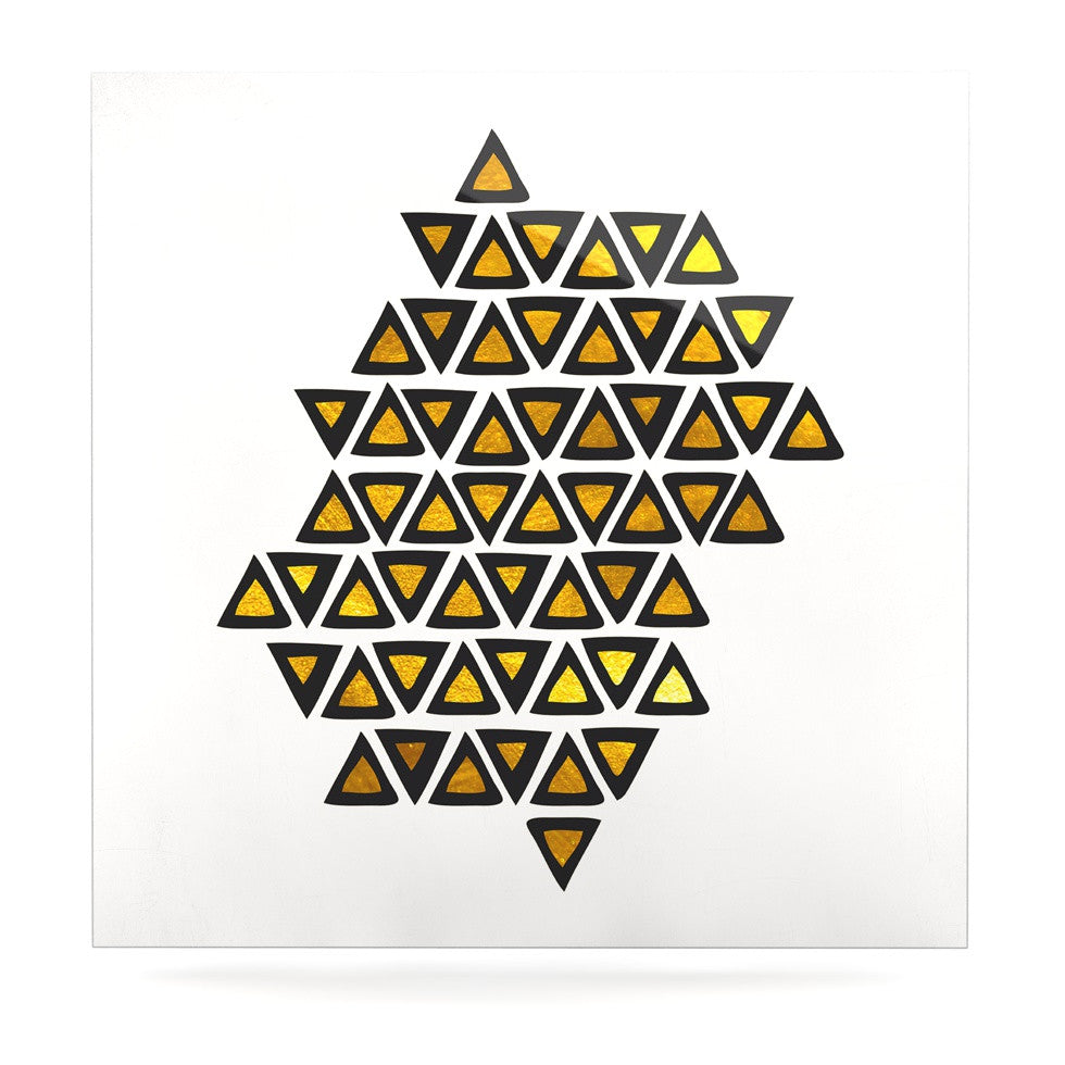 "Pom Graphic Design ""Inca Tribe"" Gold White Luxe Square Panel - KESS InHouse  - 1"