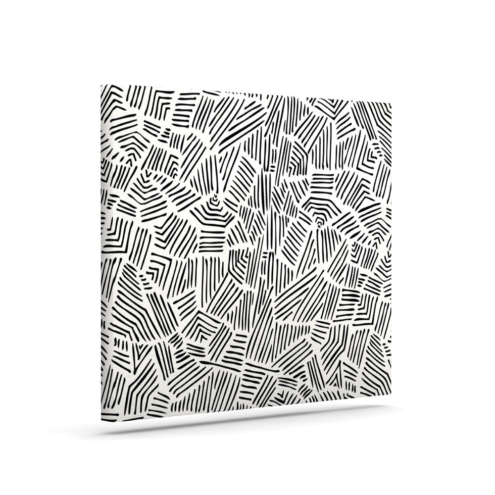 "Pom Graphic Design ""Inca Lines"" Black Illustration Canvas Art - KESS InHouse  - 1"