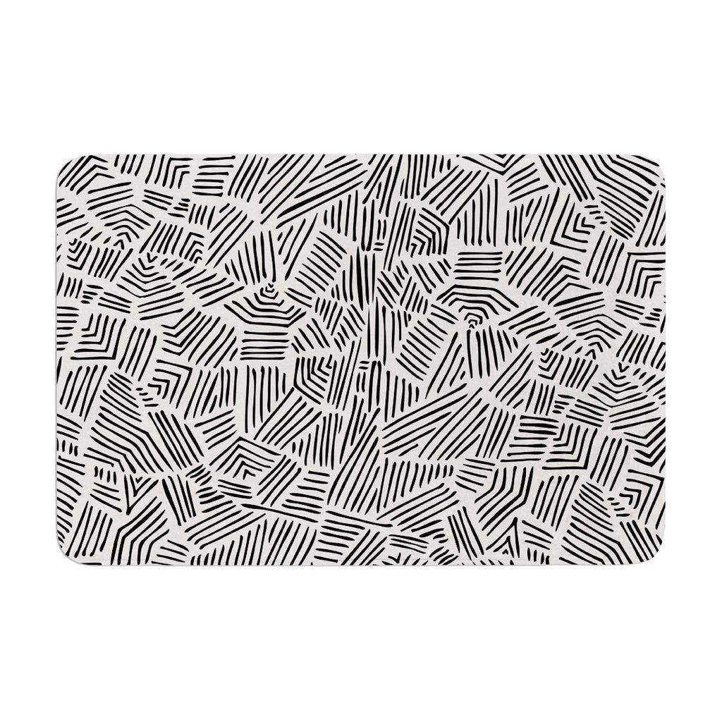 "Pom Graphic Design ""Inca Lines"" Black Illustration Memory Foam Bath Mat - KESS InHouse"