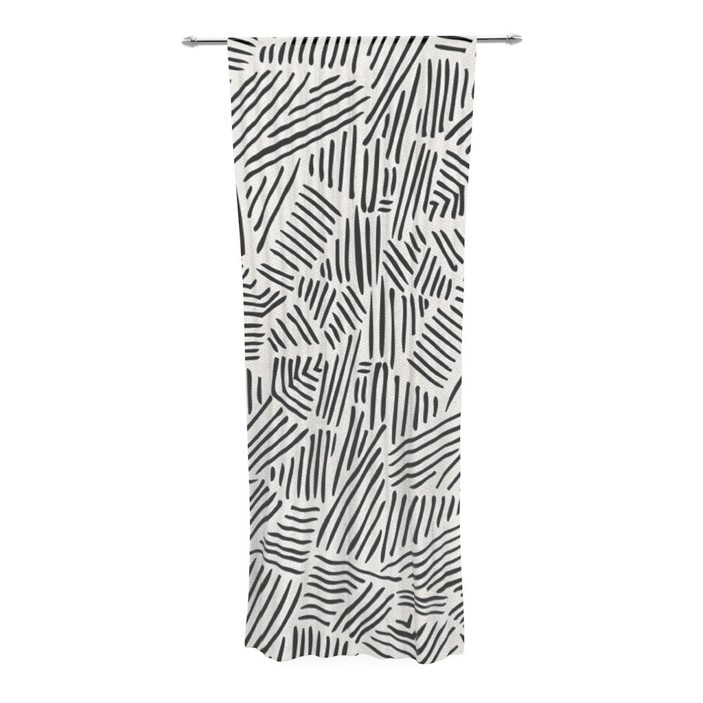 "Pom Graphic Design ""Inca Lines"" Black Illustration Decorative Sheer Curtain - KESS InHouse  - 1"