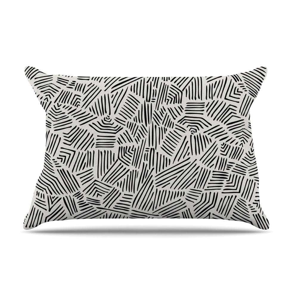 "Pom Graphic Design ""Inca Lines"" Black Illustration Pillow Sham - KESS InHouse"