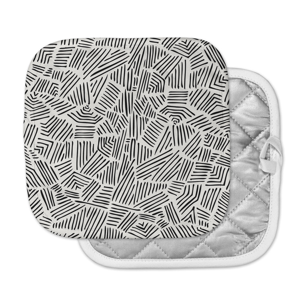 "Pom Graphic Design ""Inca Lines"" Black Illustration Pot Holder"