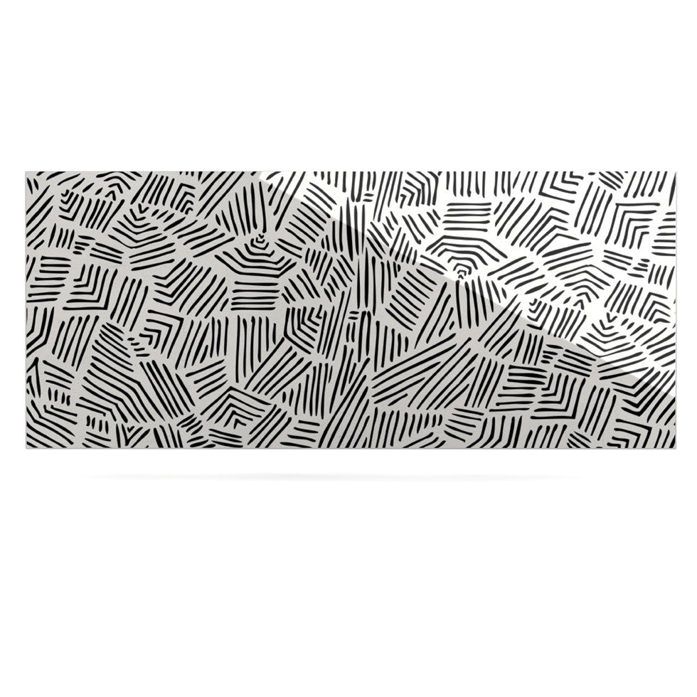 "Pom Graphic Design ""Inca Lines"" Black Illustration Luxe Rectangle Panel - KESS InHouse  - 1"